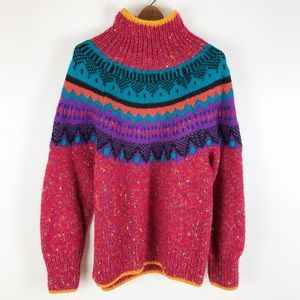 vintage fairisle 90's mock neck sweater 0649